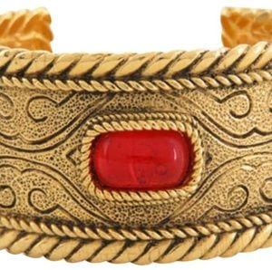 Gold Rare Vintage Gripoix Plated Cuff Bracelet